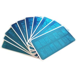 10 unids / set Patrones de Acero Inoxidable Nail Art Stamping Plates Nail Art Printer Tool Manicura Plantillas para Halloween o navidad