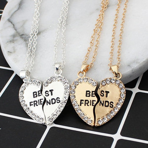 HOMOD Best Friends forever letter colgante de collar encantos que emparejan el corazón 2 color jewelry necklace women clothing accessories