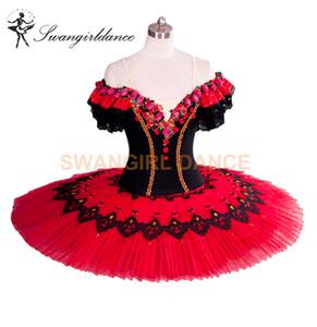 Classic Don Quixote Ballet Tutu Costume Red Professional Ballet Tutus Girl Tutu Ballet Spanish Ballerina Pancake Tutu BT8957A