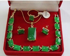 Envío libre al por mayor hermosa piedra natural verde 18KGP, anillo (# 7.8.9), pendiente pendiente del perno prisionero conjunto de la joyería