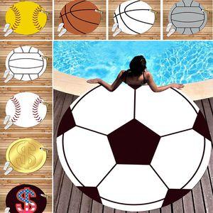 Baseball Softball Round Beach Asciugamano Seta Spiaggia coperta da picnic Sport Tappetino yoga 150 cm Copertura da spiaggia Per calcio Basketball Stampa Dollar WX9-534