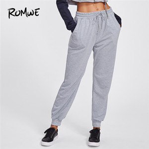 Pantalones de las mujeres con cordón Marled pantalón gris de las mujeres ocasionales mediados de cintura de Otoño 2018 Pantalones pantalones de chándal de las mujeres largas de la ropa