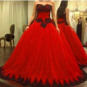 Vestido de novia rojo 2019 Robe De Mariage Talla grande Sexy aplique negro Vestido largo de bola Vestido de novia Vestido de novia