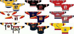 Özelleştirilmiş 1988 89-1995 96 OHL Mens Womens Çocuklar Beyaz Kırmızı Turuncu Mavi Stiched Erie Otters Logolar 2013 14-2015 16 Ontario Hokey Ligi Jersey