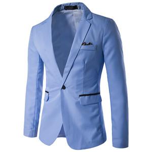 Single Button Mens Blazer beiläufige feste Männer ausgestattet Blazer gestreiften Office Suit Jacket