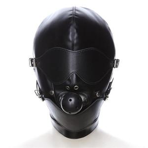 См Маска связывание сдержанность капюшон Маска секс игрушки головной убор с Рот мяч кляп БДСМ эротические искусственная кожа секс капюшон для взрослых игры