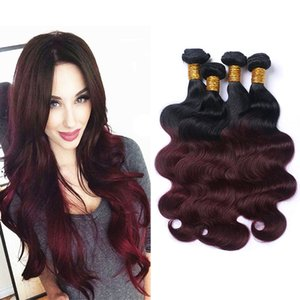 Artículos más vendidos Ombre rojo oscuro del color del pelo 4 lotes de la onda del cuerpo 1B / armadura de color paquetes de extensión 99J Virgen brasileña del cabello humano