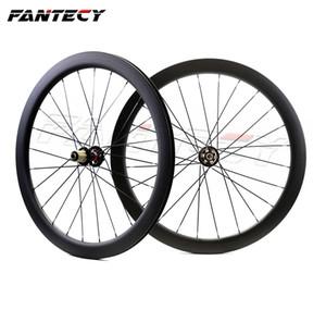 FANTECY 700C 50mm profundidad bicicleta de carretera freno de disco ruedas de carbono 25 mm de ancho Clincher / tubular ciclocross ruedas de carbono con ejes de tracción recta
