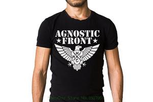 Maglietta degli uomini di marca Clothihng Top Quality Fashion Mens 100% cotone Agnostic Front Band Eagle Logo Black T-shirt
