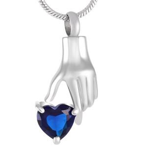 IJD9231 Crémation En Acier Inoxydable Cendres Urne Main Tenir Dark Blue Cristal Coeur Mémorial Souvenir Urne Pendentif Collier En Gros Charme Bijoux