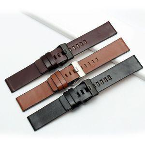 Moda pulseira de couro genuíno faixa de relógio dos homens 22mm 24mm 26mm 28mm 30mm marrom pulseira bracelete