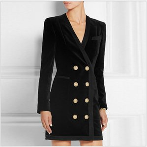 New Style Top Quality Original Design Women's Metal Buckles Classic Dress Double-breasted Deep V Velour Velvet Dress