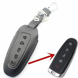Flycorter hakiki deri 5 düğme akıllı anahtar kılıf kapak ford edge için / explorer / kaçış / flex araba styling l36