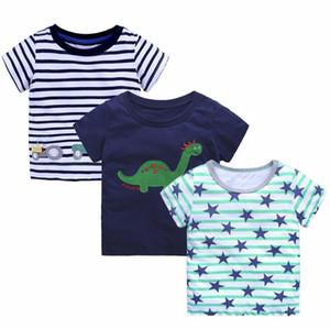 Bebek hayvan karikatür T-shirt çocuk boys baskı tops yaz şerit Tees 2018 yeni Butik çocuk Giyim 13 renkler
