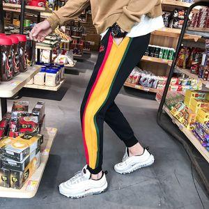 2018 Spring New Pattern Uomini Pantaloni sportivi Moda Patchwork Colore Tempo libero Mid-low Bound Piedi Pantaloni casual Full Length