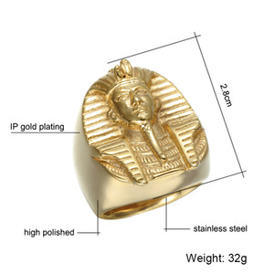Hop Misterioso Tutankhamun Anéis De Faraó Egípcio Bling Cor Dourada Dos Homens de Aço Inoxidável Anel de Sinete Heavy Rock Jóias