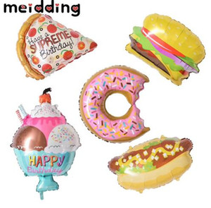 Big Birthday Party Globos Donuts Cream Hamburguesa Hot Dog Globos Inflables Baby Shower Kids Party Supplies