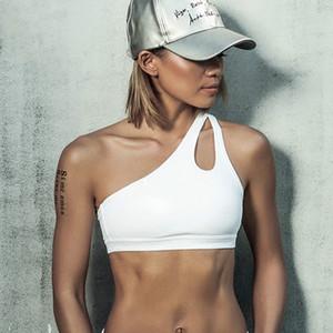 2017 Seksi Bir Omuz Katı Spor Sutyen Kadın Spor Yoga Bras Gym Yastıklı Spor Üst Atletik Iç Çamaşırı Egzersiz Koşu Giyim