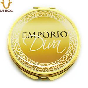 MOQ 100pcs Il tuo logo personalizzato Cosmetic Mirror Gold colori compatti Specchi Golden Lady trucco specchio portatile Gifts società di business
