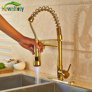 Contemporary LED Light Gold Finish Spring Kitchen Faucet Pull Out Sprayer Mixer Tap