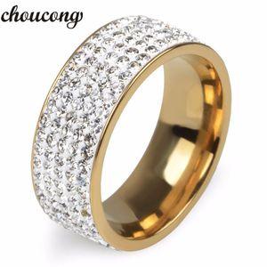 Choucong Bijuterias 5 Linhas De Cristal Cz Casal Banda anel de Aço Inoxidável Dedo Amante de Noivado Anéis De Casamento para As Mulheres homens