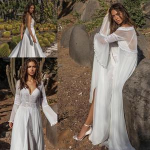 Asaf Dadush 2019 Vestidos de novia con chaqueta de manga larga Abrigo de encaje de ganchillo Vintage Playa de gasa fluida Boho Vestidos de novia de novia
