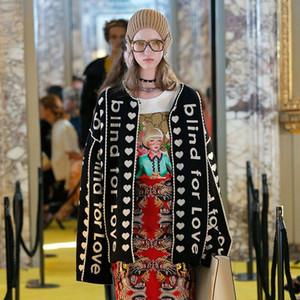 2018 Runway Designer Letter Black Cardigan Long Sweater Women Vintage Striped Lady Jupmer  Loose Clothing Winter Christmas
