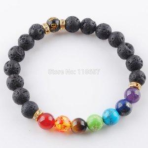 YOWOST Natural Black Volcano Stone Round 8mm Beads Bracelets 7 Chakra Healing Mala Meditation Prayer Yoga Women Jewelry IK3347