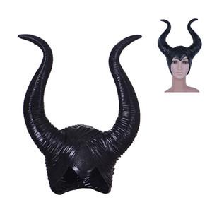 새로운 여성 Maleficent 마스크 영화 Maleficent 라텍스 뿔 Headpiece 할로윈 여성 Masquerade 파티 코스프레 고무 헤드 마스크