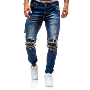 2018 mens coon Elastic knee hole patch jeans New slim Solid color Washed trousers male hip hop Beam foot pants Pencil pants