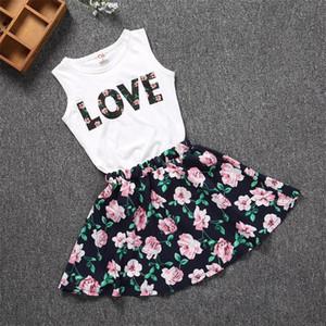 100-150см Детская одежда для девочек любовь топы + цветочная юбка 2шт довольно цветущий хлопок детские наборы 2018 летние дети девушки комплект одежды