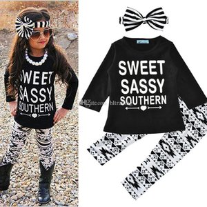 Baby letter outfits girls stripe headband+letter print top+Geometry pants 3pcs set 2018 new Boutique kids Clothing Sets C3639