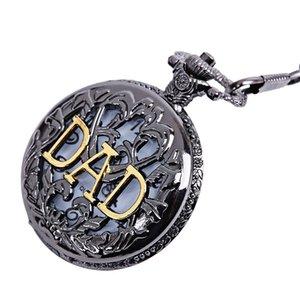 Vintage Herren Antik Bronze Dad Pattern Quarz Taschenuhr mit Halskette Fob Watch Vatertag Geschenk