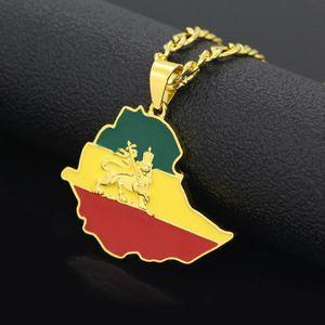 WEIYU Äthiopische Flagge Löwe Karte Anhänger Halsketten Kette Frauen Männer Gold Farbe Schmuck Afrika Äthiopien Löwe Halskette Karten