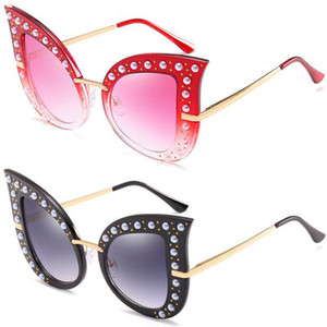 2019 personalidad de la moda de la perla remache gafas de sol del ojo de gato gafas de sol de gran cuadro con diamante exquisito lujo Vidrios UV400 CARA BONITA