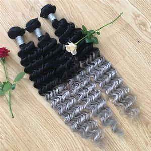 Ondas profundas brasileñas grises 3pcs / lote ombre paquetes de armadura de cabello gris plateado 1b extensiones de cabello humano brasileño Virginn de dos tonos grises