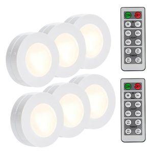 SUNBOST Беспроводная светодиодная подсветка шайбы 4000K Натуральный белый 6 шт. Кухня под освещением шкафа Беспроводные шкафы-фары с батарейным питанием