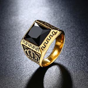 Personalidad de lujo Crown Black / Red Zircon Mens Anillos de oro Anillos de boda Pandora Rings Anillo de campeonato de la joyería de acero inoxidable