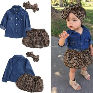 2017 neue Kinder Outfits Mädchen Baumwolle Bogen Stirnband + Lange Ärmel Denim Shirt + Leopard Rock 3 teile / satz Baby Anzüge C2244