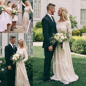 Bohemian Garden mangas largas vestidos de novia modesto una línea joya cuello apliques gasa piso longitud vestidos de novia formales