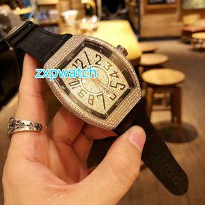 Полный лед мода яркие часы автоматическая машина мужской большой размер 44 мм ведро часы из нержавеющей стали оболочки черный резиновый ремешок бесплатная доставка