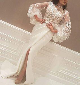 Elegantes apliques de encaje Vestidos de noche Mangas largas Fiesta dividida Vestidos de baile Yousef aljasmi Labourjoisie Ilusión Cuerpos Celebrity Dress