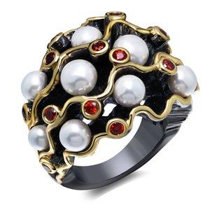 Nuevos anillos de diseño de la curva de joyería de moda envío rápido stock de moda grande negro de la placa de oro anillo de dedo de perla de cristal de siam blanco