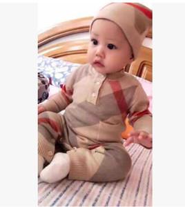 Marca New Baby Clothing New Born Autumn Plaid Knit babador crianças camisola Outfits frete grátis
