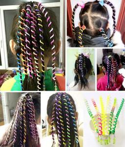 6 color de moda infantil torcedura pelo de las muchachas Herramienta de bricolaje con estilo Accesorios para el cabello con perlas multicolor tejido rizado pelo banda de cinturón