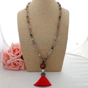 "N062507 28 ""collier de dentelle gris perle Tiger's Eye Tassel pendentif"