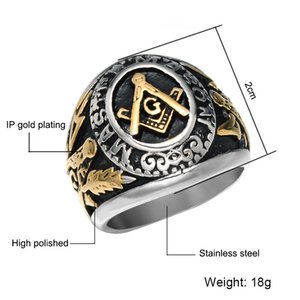 College Style (Gold überzogen) Edelstahl-Ring Freimaurer Freimaurer Ringe Freimaurer Schmuck für Freimaurerei Mitglied Masonary Ring
