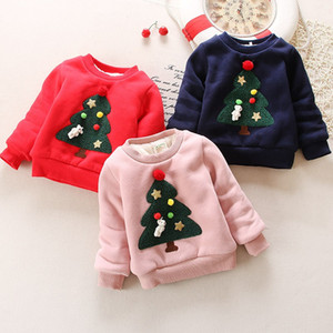 Winter Children Kids Boys Girls cloths Christmas Sweater baby Plus Velvet Thick Sweat shirts for Girls Christmas outwear