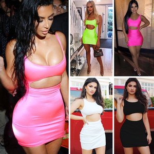Women Sexy Night Club Mini Dresses Deep Neck Backless Sleeveless Party Dresses Skinny Bodycon Dresses Women Clothing Empire Waist Hollow Out