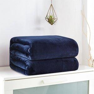 Jeefttby Nouvelle couverture solide Couleur Flanelle adulte Autume Couverture chaude d'hiver Super Soft Coral Toison d'adultes Canapé-lit double